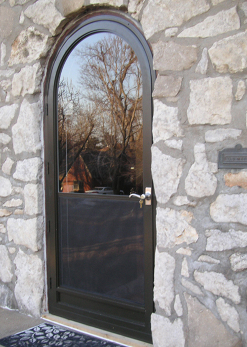 Self-Storing Round Top Door - Arch Angle Custom Arched Top Storm Windows & Storm Doors
